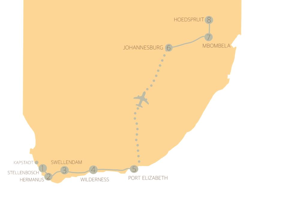 Unsere Route von Kapstadt bis nach Johannesburg